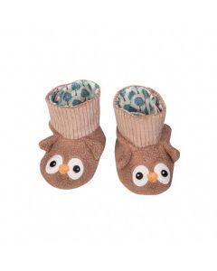 Brown Owl Booties - Organic Patterned Booties - Apple Park