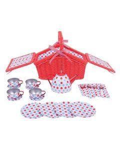 Spotted Basket Tea Set - Bigjigs Toys