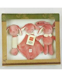 Bunny Stick Rattle, Lovie and Stroller Toy Gift Set - MiYim