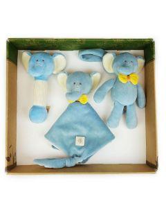 Elephant Stick Rattle, Lovie and Stroller Toy Gift Set - MiYim