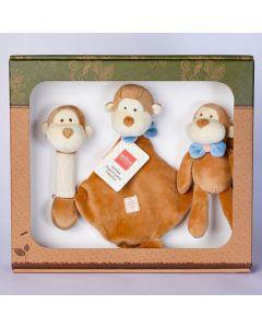 Monkey Stick Rattle, Lovie and Stroller Toy Gift Set - MiYim