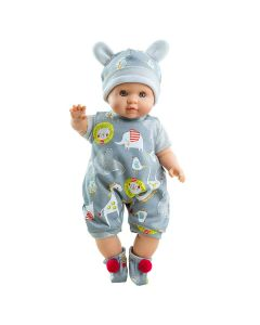 Andres Soft Body Doll with Animal Print Dungarees - Paola Reina