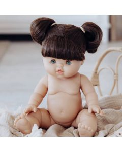 Daisy Gordis Baby Doll - Brunette Girl with Pigtails - Paola Reina