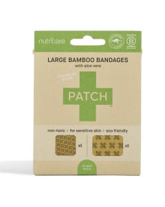 Patch Bamboo Adhesive Bandages - Aloe Vera - Large Square and Rectangles - 10 pack