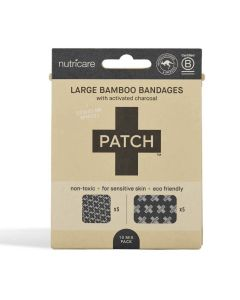 Patch Bamboo Adhesive Bandages - Activated Charcoal - Large Square and Rectangles - 10 pack