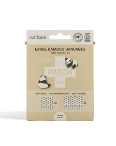 Patch Kids Bamboo Adhesive Bandages - Coconut Oil - Large Square and Rectangles - 10 pack