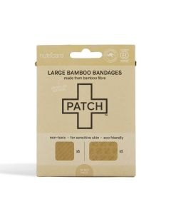 Patch Bamboo Adhesive Bandages - Natural - Large Square and Rectangles - 10 pack