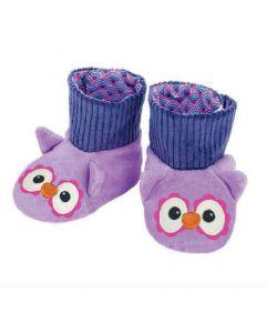 Purple Owl Booties - Organic Patterned Booties - Apple Park
