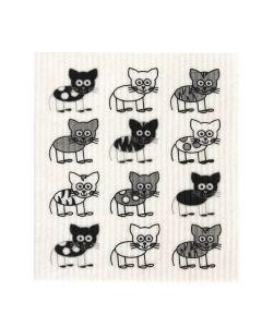 Biodegradable Swedish Dish Cloth - Cats - Retro Kitchen