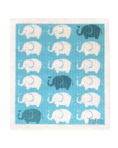 Biodegradable Swedish Dish Cloth - Elephants - Retro Kitchen