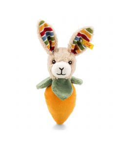 Carrie Rabbit Grip Toy with Rustling Foil & Rattle - Steiff Babyworld - Beige / Orange / Green, 15cm