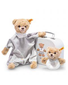 Sleep Well Bear Gift Set - Comforter & Grip Toy Rattle - Steiff Babyworld - Grey, 20cm