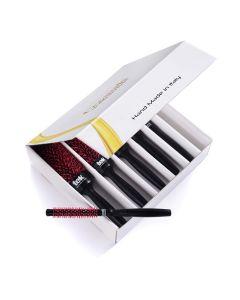 Ceramik Antibacteric OXY Professional Round Brushes - Kit of 6 - Black - Tek